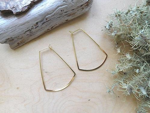 Gold U shape hoop earrings