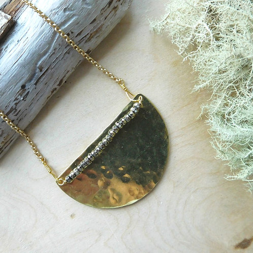 WS Half moon with Pyrite short necklace
