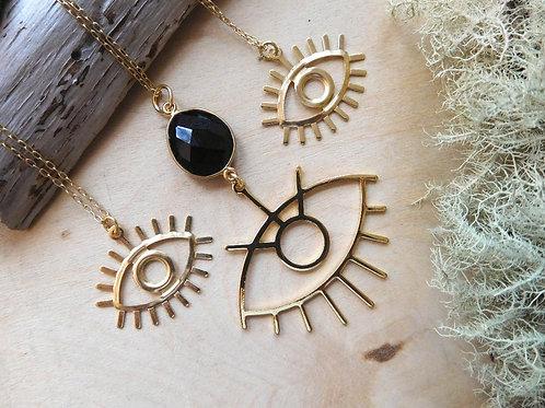 Gold Eyeful Necklace
