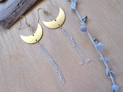 Wholesale brass crescents with silver tassel earrings
