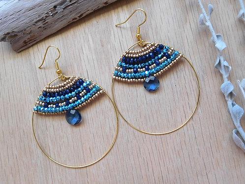 Wholesale aquamarine teardrop gold hoop earrings