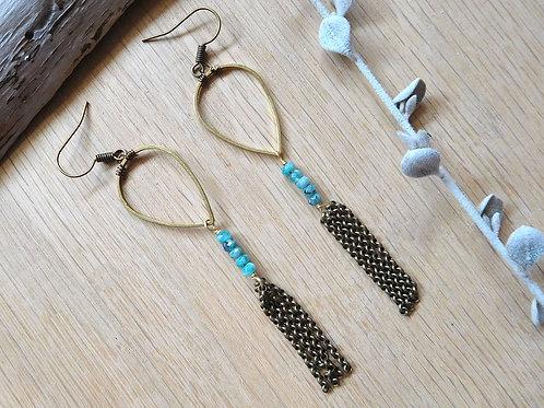 Brass teardrop turquoise earrings