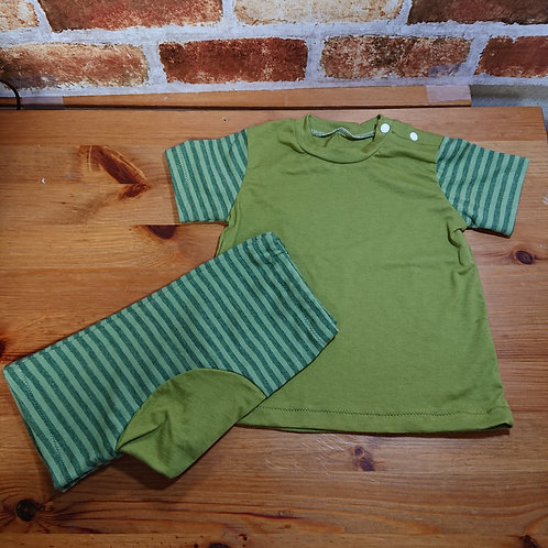 大人気!グリーンボーダーの肩ボタンの半袖Tシャツ&モンキーパンツセット