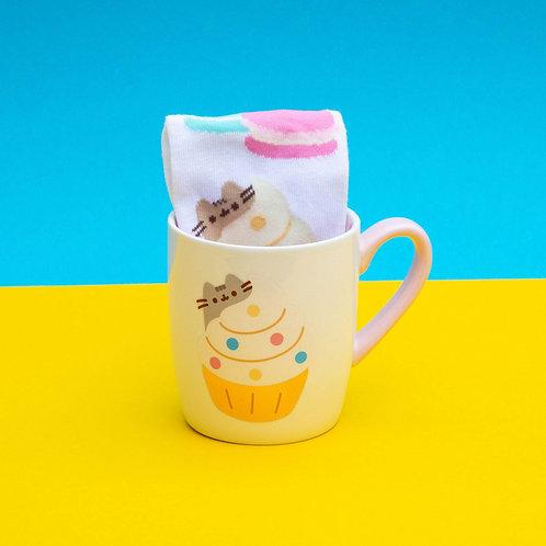 Pusheen mug avec paire de chaussettes Gold