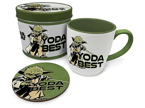 Ensemble tasse et sous-tasse avec boite en métal YODA