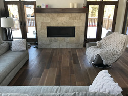 tile floor & Coastal fireplace