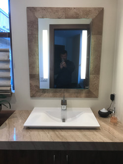 travertine NOCE mirror backspalash