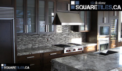 glass & stone mosaic backsplash