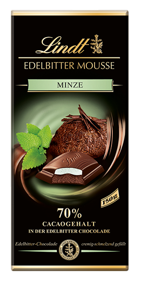 LINDT PREMIUM EDELBITTER MOUSSE MINT CHOCOLATE, 4 Packs 600g