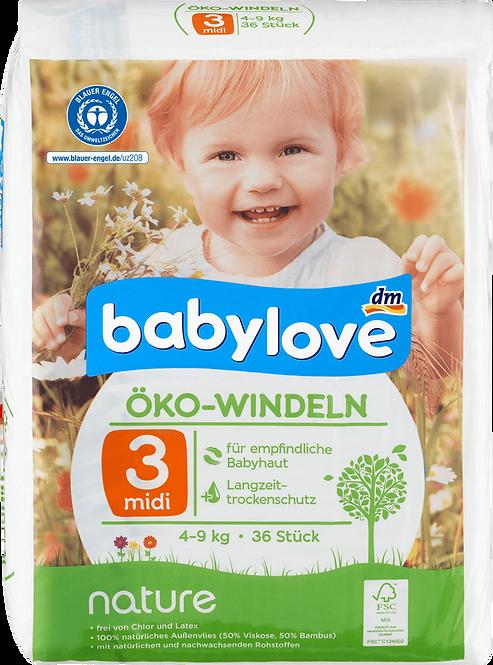 Baby diapers nature size 3, midi, 4-9kg, 36 pcs
