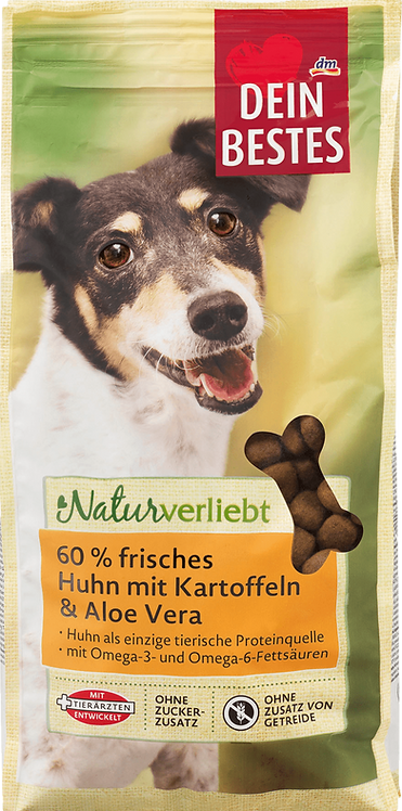 Dry food for dogs, in love with 60% fresh chicken & aloe vera, 1000 g