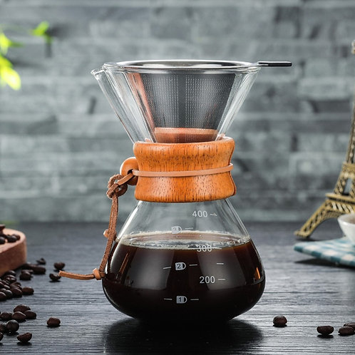Glass Coffee Pot Coffee Drip with stainless steel filter