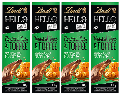 LINDT HELLO ROASTED NUTS & TOFFEE, 4 Packs, 100g