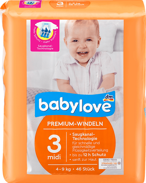 Babe Diapers Premium size 3 midi diapers 4-9 kg, 46 pcs