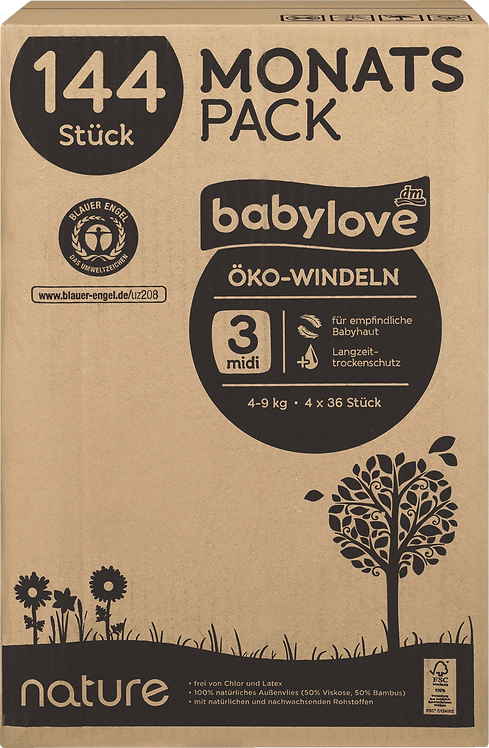 baby love Eco diapers nature midi, monthly pack, 4 x 36 St, 144 St