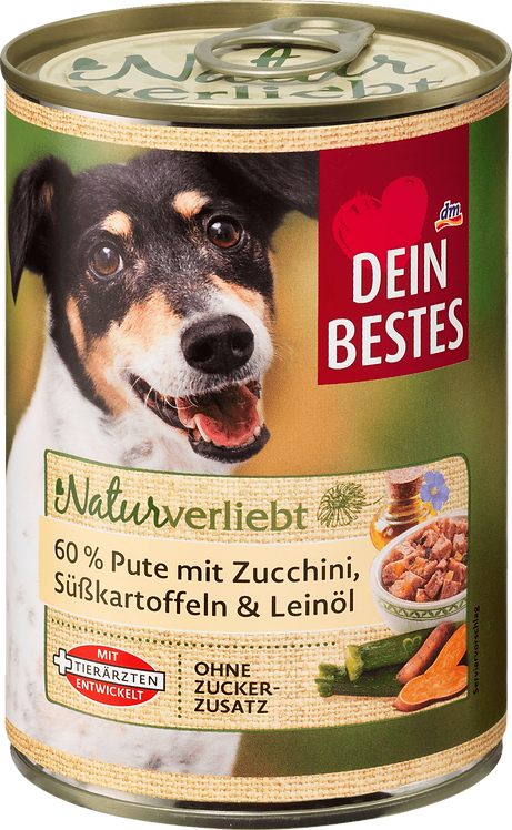 Wet dog food turkey with zucchini, sweet potato & linseed oil, 400 g