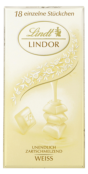 LINDT PREMIUM LINDOR SINGLES WHITE CHOCOLATE, 4 Packs 400g