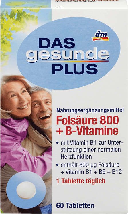 Folic acid 800 + B vitamins tablets, 60 pcs