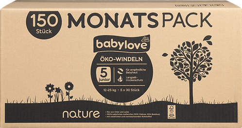 Baby love Eco diapers nature junior, monthly pack, 5x30 pieces, 150 pieces