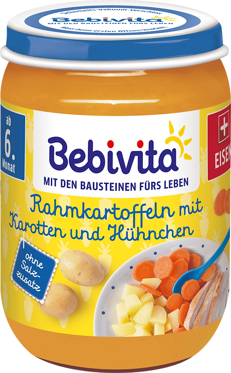 Bebivita Menu creamed potatoes with carrots & chicken from the 6th month, 190g