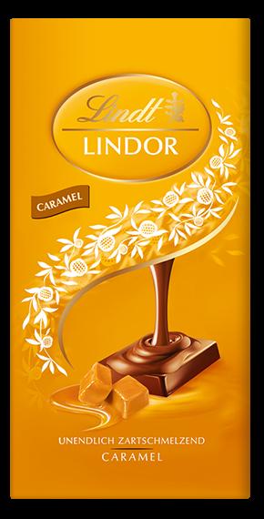 LINDT PREMIUM LINDOR CARAMEL Soft-Melting CHOCOLATE, 4 Packs 400g