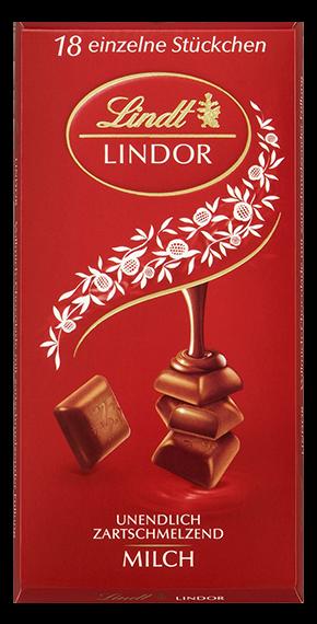 LINDT PREMIUM LINDOR SINGLES MILK CHOCOLATE, 4 Packs 400g