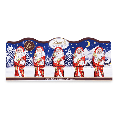 Christmas Gift Chocolate Mini Santas dark chocolate, 4 x 50g