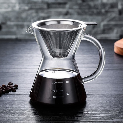 400ml Glass Coffee Pot Coffee Drip with stainless steel filter