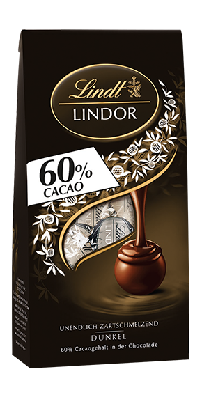 LINDT PREMIUM LINDOR BALL BAG DARK 60%, 136g