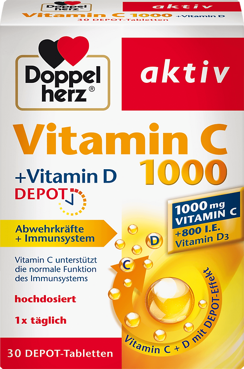 Vitamin C 1000 with 800 IU vitamin D3 Highly dosed 30 tablets, 41.3 g
