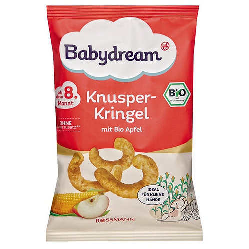 Organic Knusper Kringel Cereal snack with corn and apples, puffed 30 g