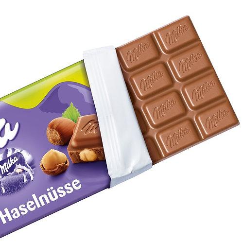 Milka Chocolate Bar Whole Hazelnuts 100g