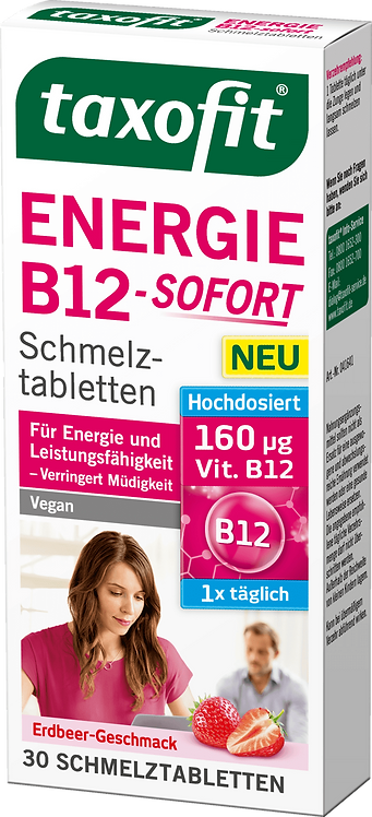 Fast Energy Boost B12 Vitamin - immediately Reduces tiredness tablets, 30 pcs