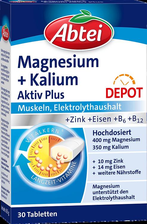 Abtei Magnesium Potassium + Zinc + Iron, Vitamin B6 Active Tablets 30 pcs, 63 g