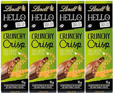 LINDT HELLO CRUNCHY CRISP, 4 Packs,100g