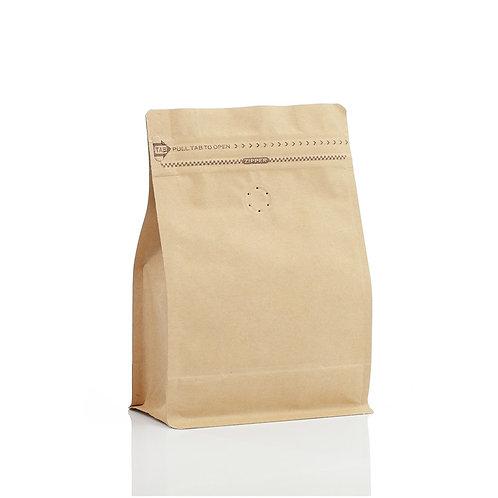 Kaffeepackung aus Kraftpapier mit Ventil-Standbeutel mit flachem Boden 250g