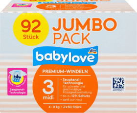 Premium Diapers size 3 midi 4-9 kg, 92 pieces, 92 pcs