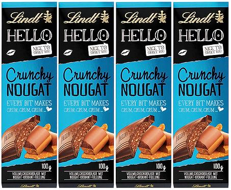 LINDT HELLO CRUNCHY NOUGAT, 4 Packs,100g