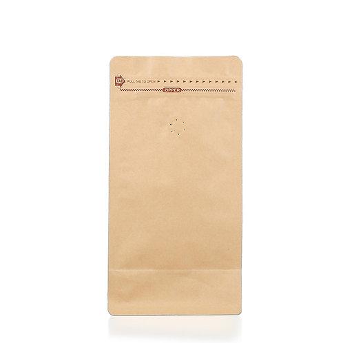 Kaffeepackung aus Kraftpapier mit Ventil-Standbeutel mit flachem Boden 500g