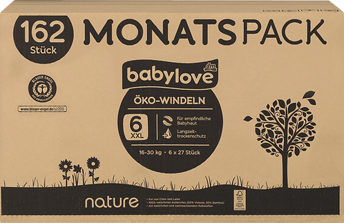 Baby love Eco diapers nature xxl, monthly pack, 6x27pcs, 162 pcs