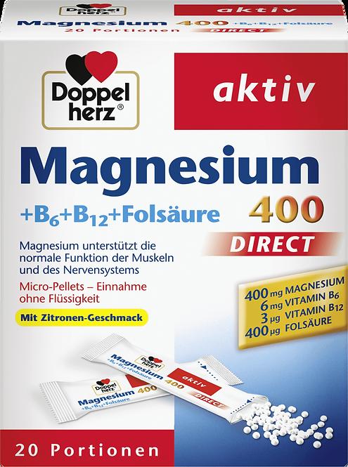 Magnesium 400 with vitamins B6, B12, folic acid direct granules 20 pieces, 24 g