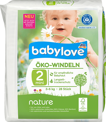 Baby Diapers nature size 2, mini, 3-6kg, 28 pieces