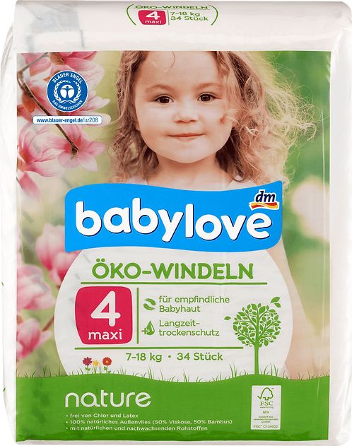 Baby diapers nature size 4, maxi, 7-18kg, 34 pcs
