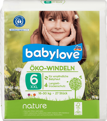 Baby Diapers nature size 6, XXL, 16-30 kg, 27 pieces