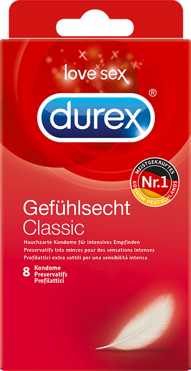 Durex Feeling real condoms, 8 pcs