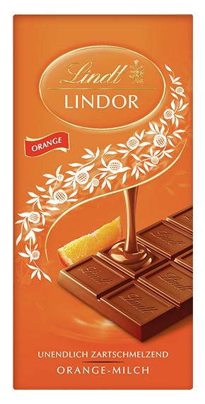 LINDT PREMIUM LINDOR ORANGE MILK CHOCOLATE, 4 Packs 400g