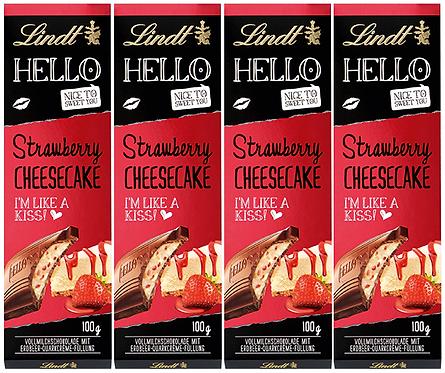 LINDT HELLO STRAWBERRY CHEESECAKE, 4 Packs,100g