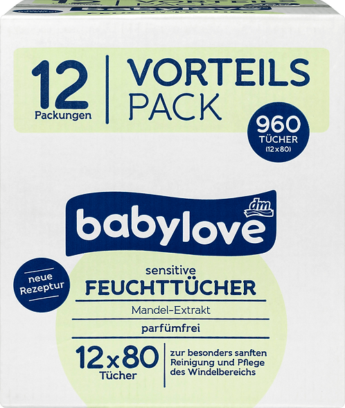 Sensitive Premium Baby Wet wipes , Bulk 12 x 80 pieces, 960 pcs