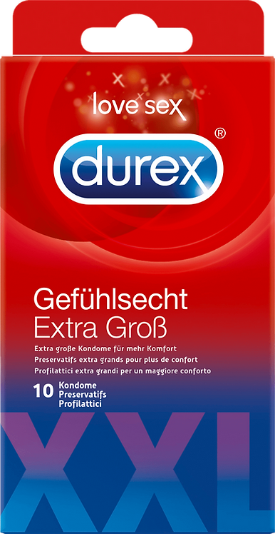 Durex Condom Feeling real Extra Large XXL, 10 pcs