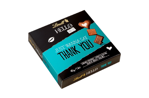 LINDT HELLO THANK YOU CHOCOLATE BITS, 45g